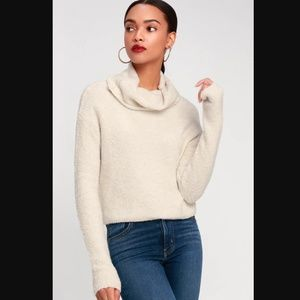 Free People Stormy Cowl Neck Sweater Cream cropped